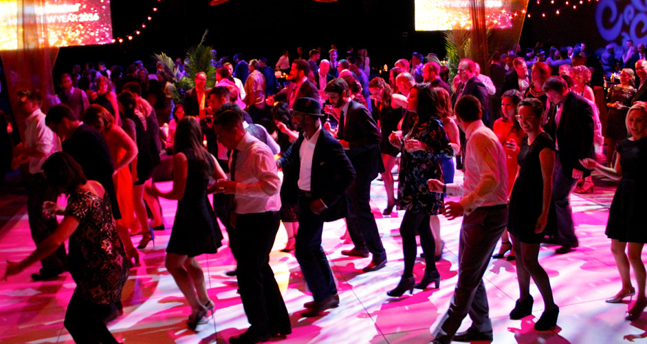happy guests participating In a silent disco party
